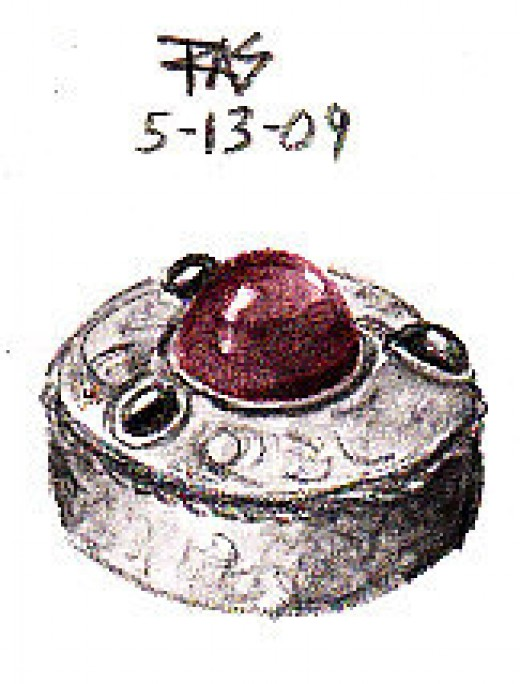 Sketch of a glass gemmed silver Renaissance museum replica pillbox by Robert A. Sloan, Derwent Graphitints.