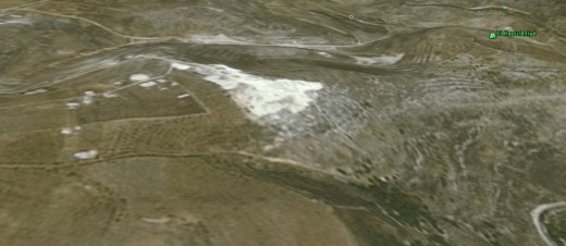 A 3D look- the white area contained buildings.