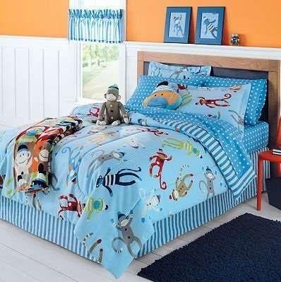 Sock Monkey Complete 6 Piece Bedding Set