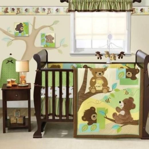 Bedtime Originals Honey Bear 3 Piece Crib Bedding Set