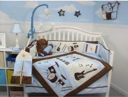 SoHo Blue and Brown Rock Band Baby Crib Nursery Bedding Set 13