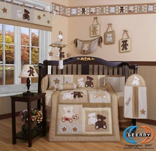 Boutique Baby Teddy Bear 13PCS Crib Bedding Set