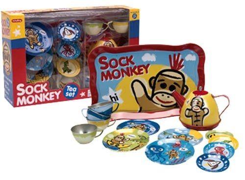 Schylling Sock Monkey Tin Tea Set