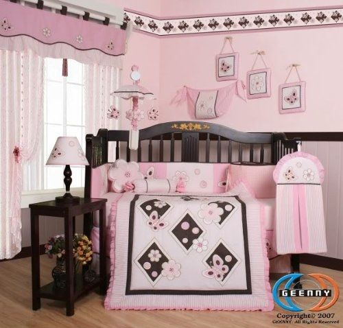 GEENNY Pink Butterfly 13PCS Baby Nursery Crib Bedding Set