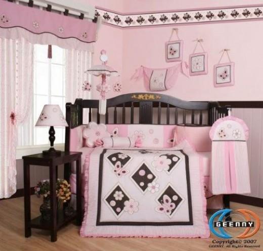 GEENNY Pink Butterfly 13PCS Baby Nursery Crib Bedding Set