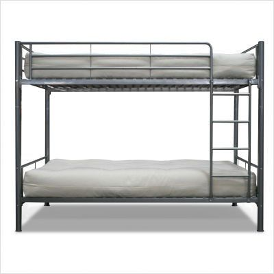 Twin over Twin Bunk Bed in Sleek Steel Finish