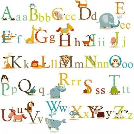 Animals Alphabet Baby Nursery Peel & Stick Wall Art
