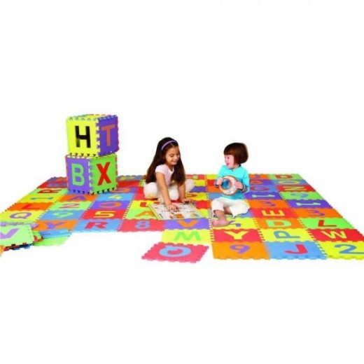 36 Piece 6x6ft Play Mat, Letters & Numbers Set
