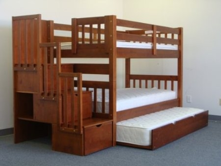 Stairway Bunk Bed Twin over Twin with 3 Drawers Built in to the Steps and a Twin Trundle