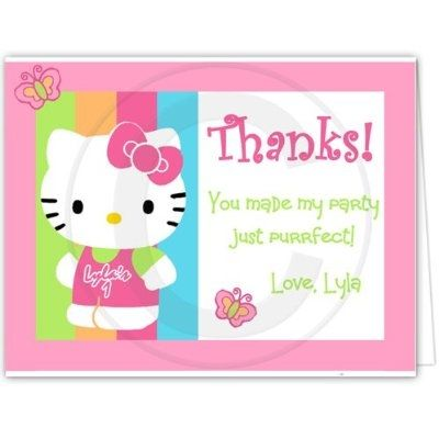Hello Kitty Party Thank You Cards