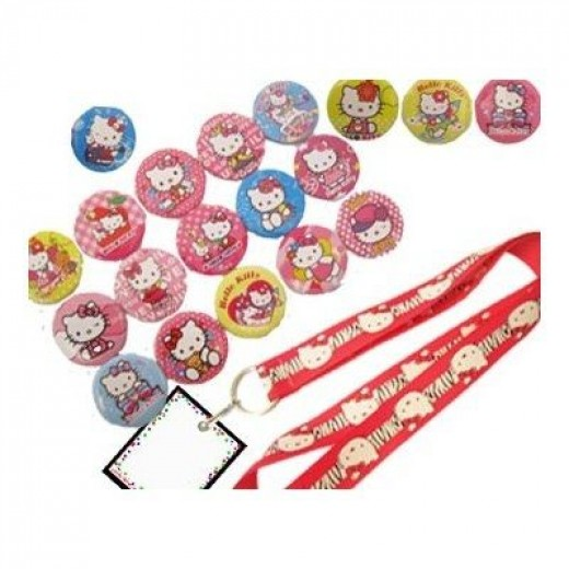 Hello Kitty Birthday Party Set - 19 Favor Badges and 1 Kitty Lanyard