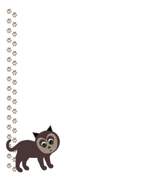 Kitty cat with paw prints. Printable stationary.