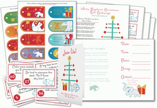 White Elephant Christmas Gift Exchange Game & Party Kit! Up to 60 players with 60 numbered Christmas fortunes. This game is the #1 most popular holiday party game.