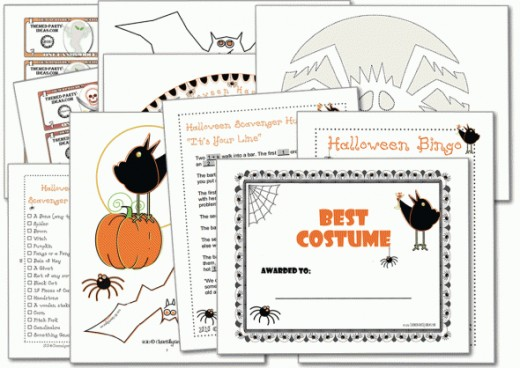 "Printable Halloween Party Games like you've never played before include ""Best Costume Certificates"", ""Pumpkin Stencils"", ""Find Your Fortune"" (a fun icebreaker game for that adults will love), and tons more!"