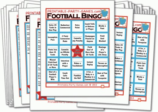 """Football Bingo"" is a bowl game must! This customizable party game keeps everyone, including those who don't know much about the game, on the edge of their seats! It's fun for everyone AND comes with a beginner's guide to understanding football!"