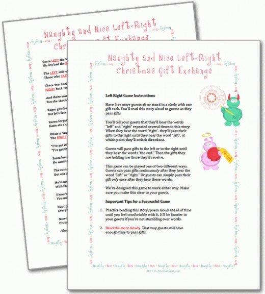 image relating to Christmas Left Right Game Printable called Amusing Directly Still left Xmas Tale Present Swap Match ✓ The