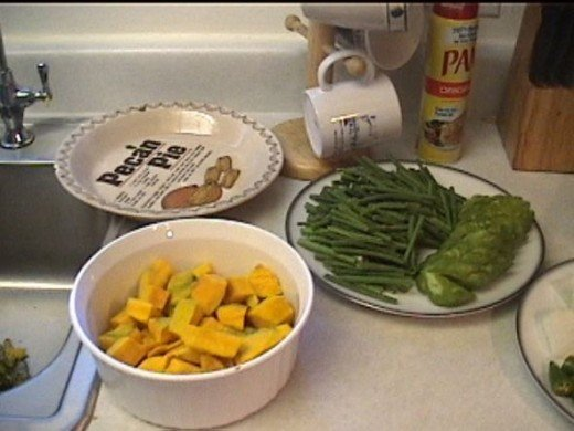 "BUTTERNUT SQUASH, CHINESE LONG BEANS, & BITTER MELON.Note: Bitter Melon is considered a main ingredient in Panikbet but we prefer it ""optional"". Eggplant we usually skip as well."