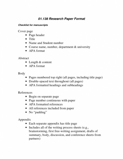 High school science research paper format