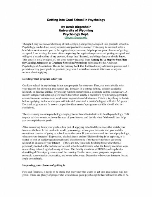 graduate school application essay