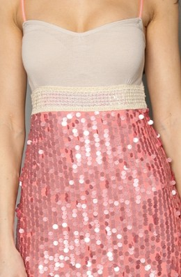 The Steph Sparkle Sequin dress in Champagne and Sherbet by Free People is a delicious way to give yourself a small waist, hourglass hips and shapely legs. Boobs... what are those?