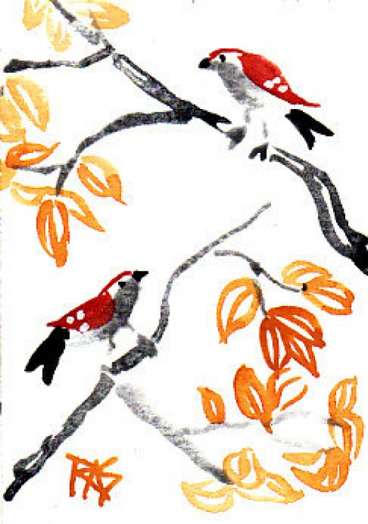 """Two Birds,"" 2 1/2"" x 3 1/2"" watercolor painting in an Asian style, by Robert A. Sloan"