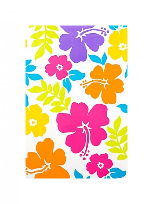 Hibiscus White Plastic Table Cover