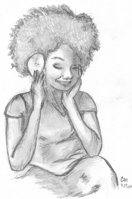 I'm obsessed with drawing people listening to music!