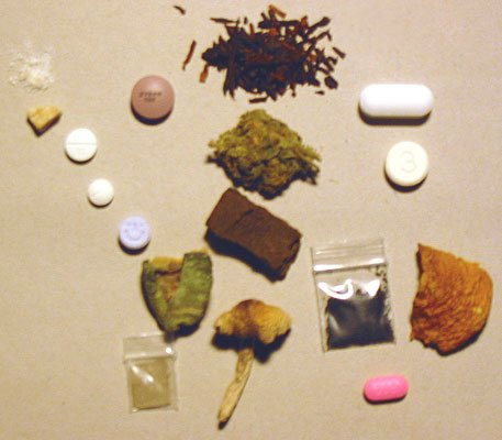 Various kinds of illegal drugs