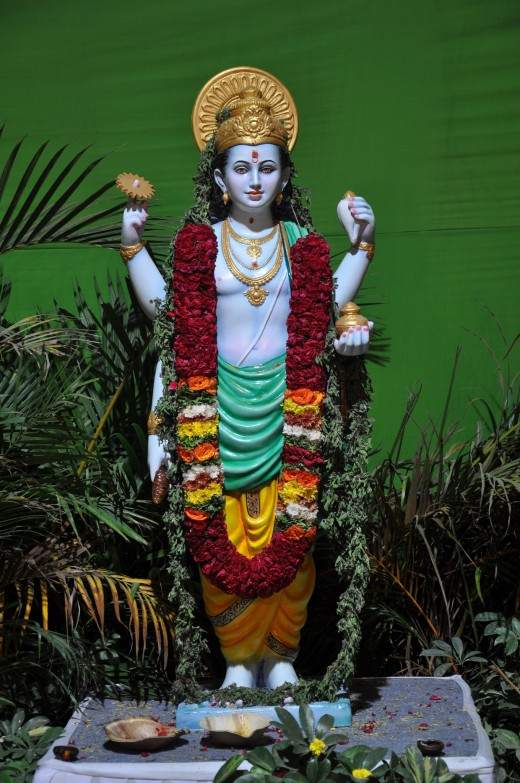 Dhanvantari (धन्वंतरी), known as an avatar of Vishnu is the Hindu god associated with Ayurveda. The above photo was taken at a recent Ayurveda expo in Bangalore titled 'Arogya'.