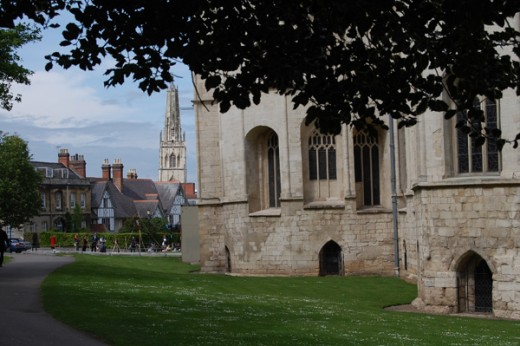 Sitting on the lawns in front of the cathedral groups of children get history lessons from speakers in costume of the period and find out all about the archers of the day and how a traditional English meal was boiled beef and carrots (the purple and