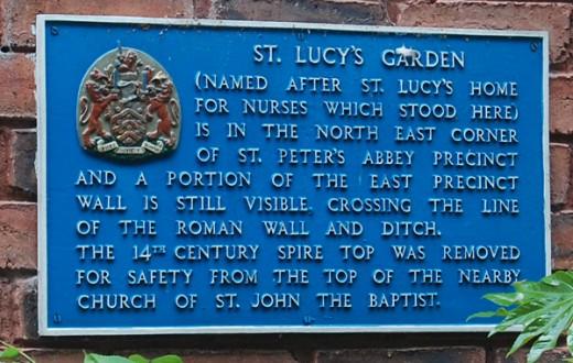 St Lucy's Garden Plaque