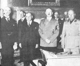 British Prime Minister Neville Chamberlain, French Prime Minister Edouard Daladier, Hitler and Mussolini at Munich, 1938