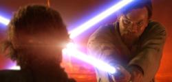 Obi-Wan and Anakin cross lightsabers for the final time