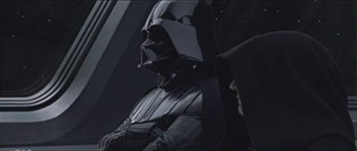 Darth Vader and the Emperor overlooking construction of the original Death Star