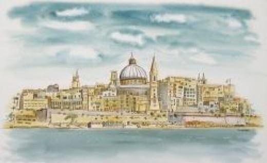 'Valletta Malta' Line and Wash by Michele Webber