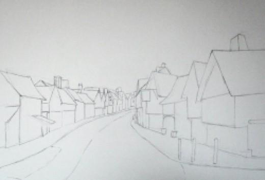 Lavenham, initial sketch, copyright Michele Webber