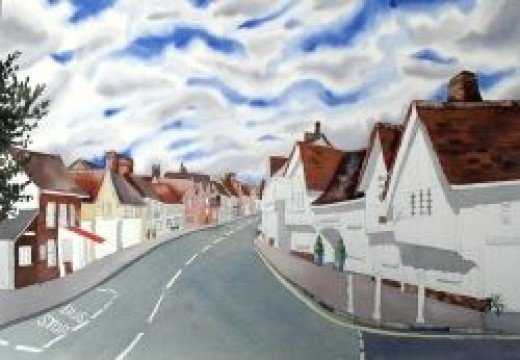 Lavenham Suffolk painting, copyright Michele Webber