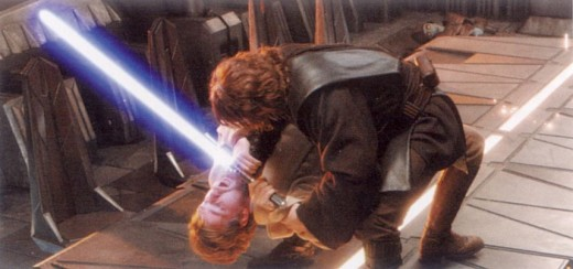 Anakin almost overpowers Kenobi