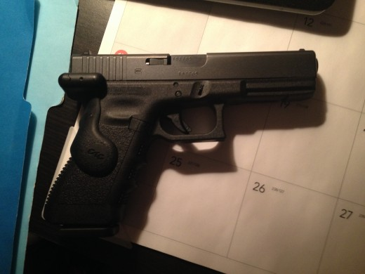 Glock 17 with the slide forward (loaded position)