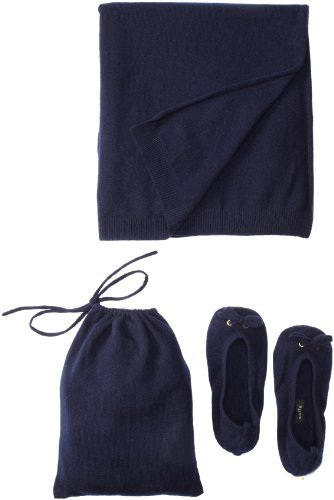Sofie Women's Slipper Pouch Travel Shawl Set (Navy)