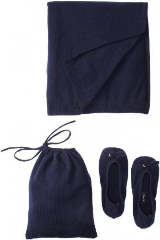 Sofie Women's Slipper Pouch Travel Shawl Set (Navy)