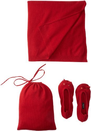 Sofie Women's Slipper Pouch Travel Shawl Set (Red)