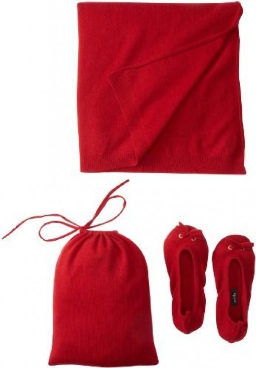 Sofie Women's Slipper Pouch Travel Shawl Set (Red)