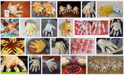 All different Halloween popcorn hands