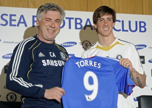 Fernando Torres being unveiled by Carlo Ancelotti
