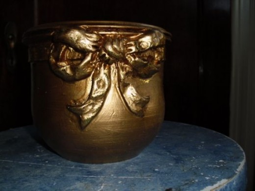 The Verdigris Pot Before: Painted a Heavy Gold
