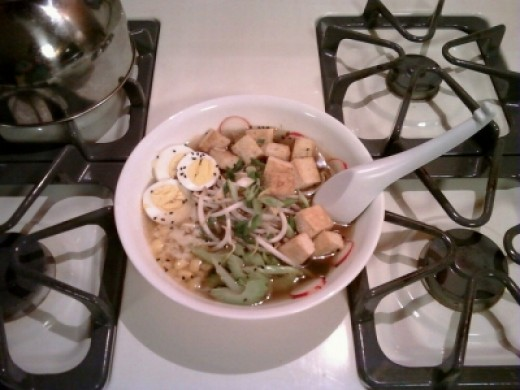 Ramen with Tofu, Vegetables, and Corn