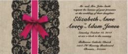 Pink Burlap & Lace Rustic Wedding Invitation