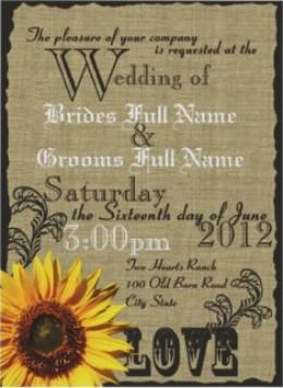 Burlap and Sunflower Wedding Invitation