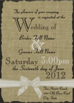 Burlap and Bows Wedding Announcement